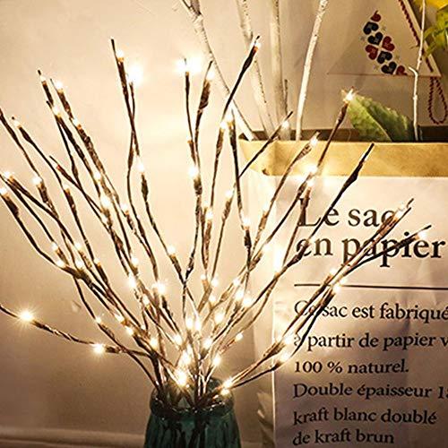 Guirlande lumineuse à piles en forme de branche lumineuse à LED en forme darbre avec perles étanches artificielles décoratives pour la décoration de la maison ou des fêtes (80 LED/4 pièces)