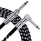 Anpro Câble de Guitare Electrique 3m,Câble Jack de Basse Instrument 6.3mm Mâle à Mâle Tête Droite et Tête Coudée Pour...