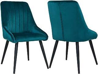 Duhome 2X Silla de Comedor de Tela (Terciopelo) diseño Retro Silla tapizada Vintage con Patas de Metal seleccion de Color 8066, Color:Verde Azulado, Material:Terciopelo