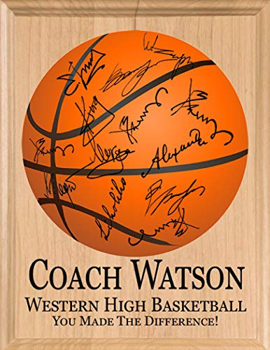 Broad Bay Basketball Coach Gift SIGNABLE Personalized Coaches Plaque for Team Signatures & Thank You Notes