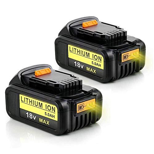 2X 18V DCB184 Batteria 5.0Ah di Ricambio per Dewalt XR DCB181 DCB182 DCB183 DCB185 DCB200 DCB200-2 DCB205DCB181-XJ N123283 Trapano a Batteria