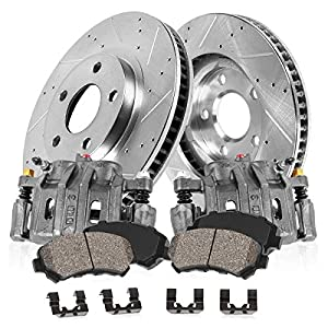 Callahan CCK11013 FRONT OE [2] Calipers + [2] Drilled/Slotted Rotors + Quiet Low Dust [4] Ceramic Pads Kit