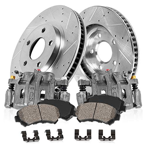 Callahan CCK11597 FRONT OE [2] Calipers + [2] 6 Lug Drilled/Slotted Rotors + Low Dust [4] Ceramic Pads Kit