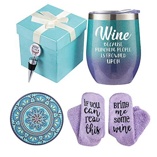 Wine Gift Baskets for Women - Unique Novelty Gift for Mom, Wife, Boss, Sister, Best Friend, Coworkers,Nurse - Christmas gifts, Housewarming Gift - Wine Socks, Wine Tumbler, Coasters, Bottle stoppers