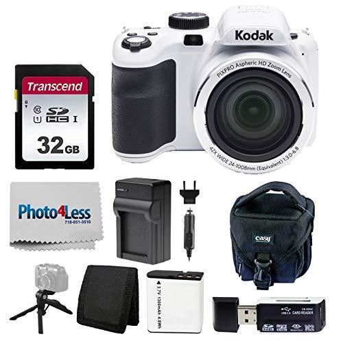Kodak PIXPRO AZ421 Digital Camera (White) + Point & Shoot Camera Case + Transcend 32GB SD Memory Card + Extra Battery + USB Card Reader + Table Tripod + Accessories