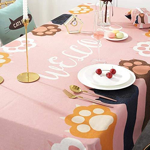 JLYZB 100% Katoen Rechthoekige Tafelkleed, Kat Klauw Print Tafelhoes Rimpel Gratis Stof Tafelblad Decoratie Tafelkleed Voor Keuken Dining-sky Blauw 85x85cm (33x33inch)