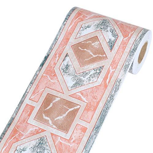 Yoillione Tapete Bordüre Selbstklebend Bordüren Rot Tapetenbordüre Wand, Wasserdichte PVC Klebe Bad Bordüre Küche Wandbordüre Muster für Wohnzimmer Badezimmer Schlafzimmer Wanddeko