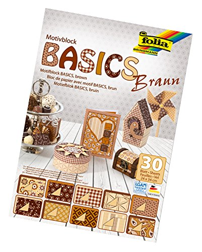 Folia Bloc Motif 46649 Basics – 24 x 34 cm 30 Feuilles Assorties, Marron