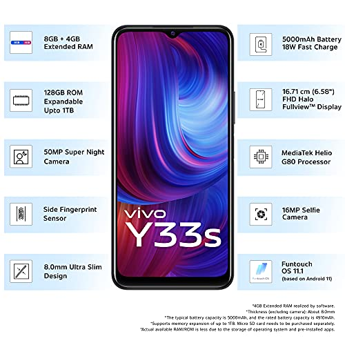 Vivo Y33s (Mirror Black, 8GB RAM, 128GB Storage) with No Cost EMI/Additional Exchange Offers