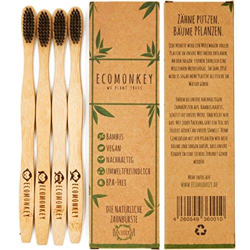 Bambus Zahnbürste im 4er Pack ✮ Weiche Borsten ✮ Vegan ✮ Biologisch Abbaubar ✮ Nachhaltig ✮ 100% BPA-frei ECOMONKEY®