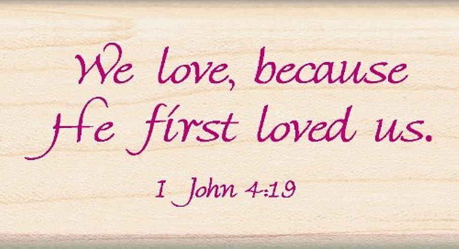 EK Success Inkadinkado John 4:19 Religious Bible Verse Wood Stamp, 2.75'' W x 1.5'' L