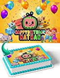 Cakecery Cocomelon CM Edible Cake Image Topper Personalized Birthday Cake Banner 1/4 Sheet