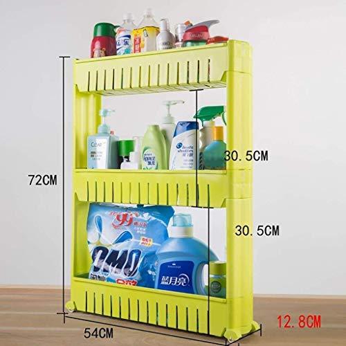 Badkamerrekplank, badkamerplank vloerstaand plastic, afneembare montage 3-laags opbergrekken, keukenopslagplank, 54x12.8x72cm (kleur: groen)