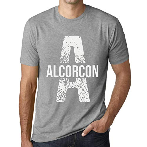 One in the City Hombre Camiseta Vintage T-Shirt Letter A Countries and Cities Alcorcon Gris Moteado