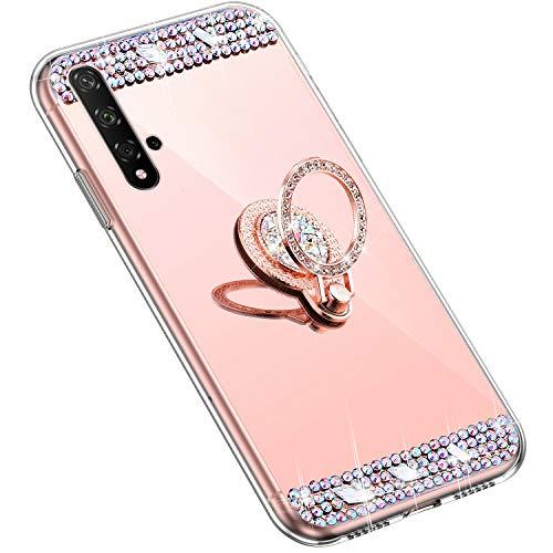 Uposao Kompatibel mit Huawei Honor 20 Handyhülle Strass Diamant Kristall Bling Glitzer Glänzend Spiegel Schutzhülle Mirror Case Silikon Hülle Tasche mit Ring Halter Ständer,Rose Gold