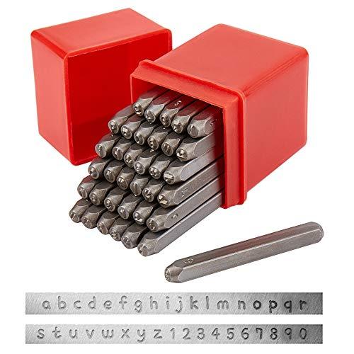 PandaHall 36pz Set di timbri in Metallo con Lettera e Numero, 3mm Alfabeto A-Z e Numero 0-9, Strumento per punzonatura con punzoni in Ferro per imprimere su Legno in Pelle con Gioielli in Metallo