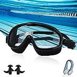 SUPEEC スイミングゴーグル 水泳ゴーグル 水中メガネ フィットネス UVカット 曇り防止 柔らかいシリコン クッションタイプ 広い視野 ユニセックス 3点セット (黒)