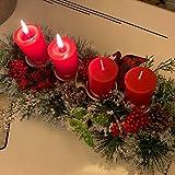 Unifree Adventskranz - Bereift Tanne Weihnachten Kerzenhalter Kerzenringe Kerzenständer Dekorativ Tannenzapfen Rote Beeren Bogen, Christmas Kerzenlicht Stehen für Advent Tischdeko Deko - 2