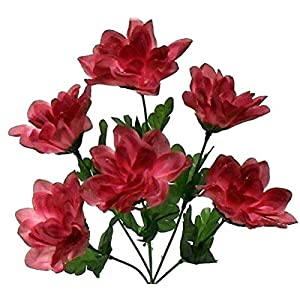 Floral Décor Supplies for 6 Head 3″ Dahlia Artificial Silk Flowers Wedding Bouquet Centerpiece Fake Faux for DIY Flower Arrangement Decorations – Color is Dark Mauve