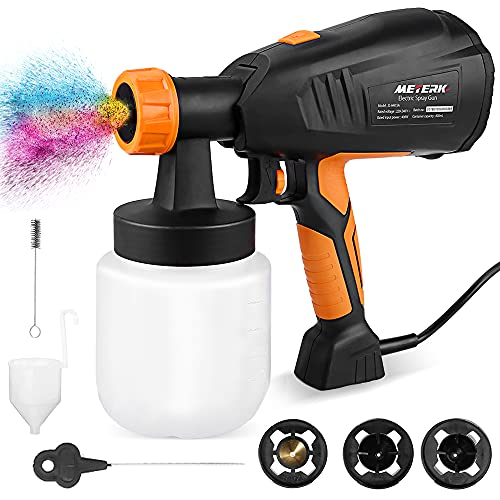 Paint Sprayer, Meterk 800ml/min HVLP Electric Paint Sprayer Gun with 3 Nozzle Sizes & 3 Spraying Patterns Refill Lid Detachable Container Replaceable Air Filter Painting Sprayers