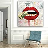 N / A Art Sexy Red Lips with Canvas Painting Wall Poster Picture for Living Room Lienzo sin Marco 30X30CM