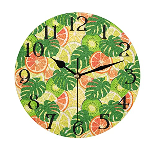 Lerous Non Ticking Round Wall Clock, Tropical Leaves Kiwi Silent Clock and Easy Read for School Office Home Kitchen Bathroom Living Room Decor 30CM