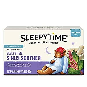 Six 20-count boxes of Sleepytime Sinus Soother tea bags Blended with tulsi, stinging nettle, chamomile and mint Caffeine and gluten-free No artificial flavors, colors or artificial preservatives Steep tea bag in hot water for 4-6 minutes for the perf...
