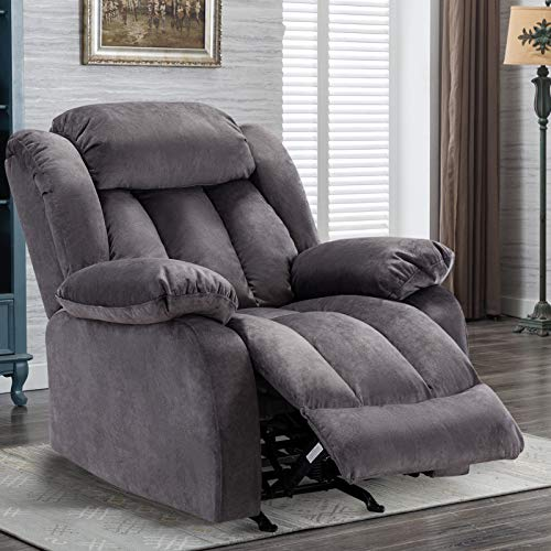 IOMOR Rocker Recliner Chairs for Elderly - Manual Adjustable Overstuffed Seat, Fabric Single Sofa for Modern Living Room, Navy