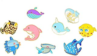 AOVITY Sea Creatures pin Badges brooches for Party Bags (Set of 9 - Whale, Seahorse, Shark and Dolphin