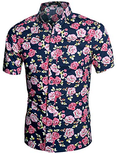 uxcell Men's Hawaiian Shirts Short Sleeve Button Down Slim Fit Summer Floral Shirts Blue Rose Print 38