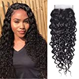 Odir Water Wave Hair Lace Closure 9A Unprocessed Brazilian Virgin Human Hair Lace Frontal Closure 4x4 Top Front Closure Human Hair Natural Black 14inch