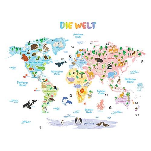 DECOWALL DLT-1615DE Weltkarte Tierweltkarte Tiere Wandtattoo Wandsticker Wandaufkleber Wanddeko für Wohnzimmer Schlafzimmer Kinderzimmer (Extra Groß) (Deutsche Ver.)