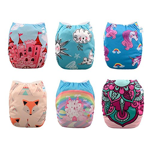 Babygoal Baby Cloth Diapers for Girls, One Size Pocket Adjustable Reusable Nappy 6pcs+6 Inserts+6pcs Bamboo Wipes 6YDG04