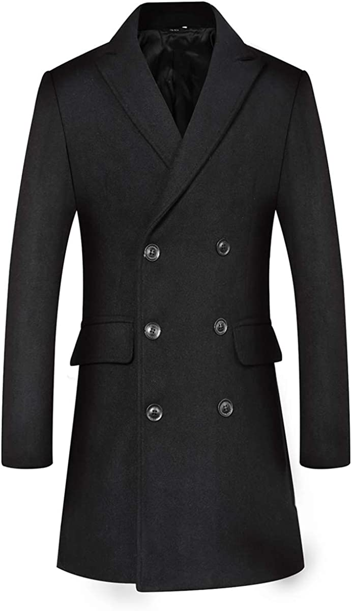 Men's Wool Blend Warm Coat Double Breasted Long Outdoor Business Pea Coat