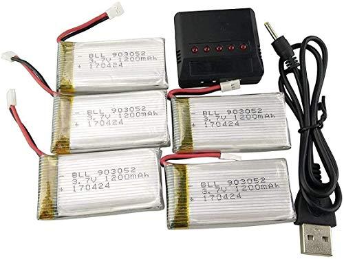 ZYGY 5 Pezzi 3.7V 1200mAh Batteria e 1pcs 5in1 Caricatore per Drone Telecomando SYMA X5SW X5SC X5SC-1