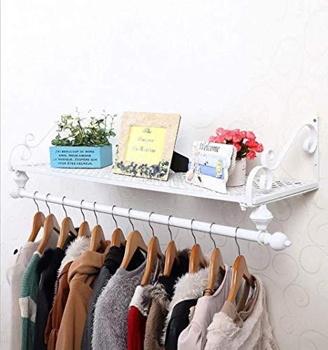 Estante de roupas de ferro forjado europeu com rack de armazenamento para casacos e guarda-roupas deslizantes para quarto e corredor (Cor: Bronze Tamanho: 100 cm) - Branco_80 cm