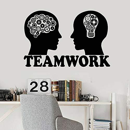 Zdklfm69 Adhesivos Pared Pegatinas de Pared Vinilo Inteligencia Emocional Bombilla Cerebro Equipo Trabajo en Equipo Decoración de Pared para decoración de Oficina 77x50cm