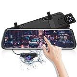 AZDOME 10' Spiegel Dashcam mit Rückfahrkamera, Parkhilfe, ADAS, Super Nachtsicht, Loop-Aufnahme, G-Sensor, Parkmonitor Autokamera Dual Lens[1080P, 170°Vorne; 720P, 150°Hinten](PG02)