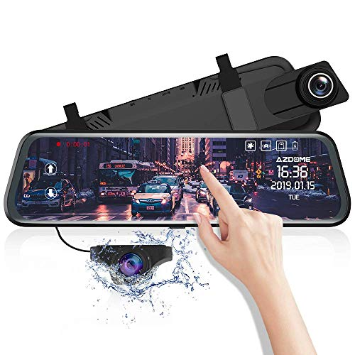 """AZDOME 10\"""" Spiegel Dashcam mit Rückfahrkamera, Parkhilfe, ADAS, Super Nachtsicht, Loop-Aufnahme, G-Sensor, Parkmonitor Autokamera Dual Lens[1080P, 170°Vorne; 720P, 150°Hinten](PG02)"""
