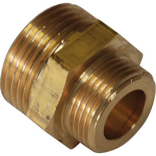 Preisvergleich Produktbild Reduzierter Doppelnippel Messing,  beidseitig flachdichtend ¾ x ½ Zoll
