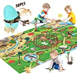 Dinosaur Toys Figure Playset Dice Game with 48 X 32 Inch Play Mat Educational Realistic Action Figure Egg Container to Create a Dino World Role Play Gifts for Kids Toddler Boys and Girls Toy Activity
