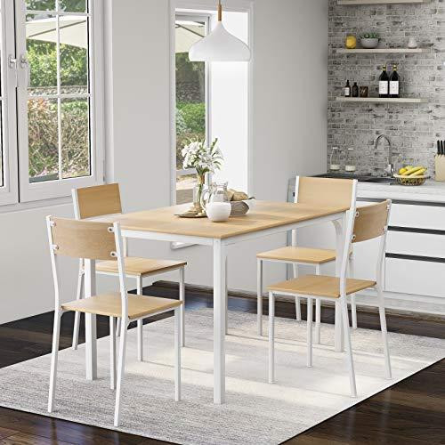Takefuns Juego de mesa de comedor y silla de 4 marcos de madera de acero estilo industrial retro de cocina (natural)