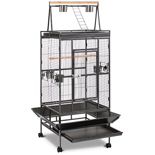 Best Choice Products Bird Cage, 68in, Black, w/ Wooden Perch, Play Area, and Rolling Wheels