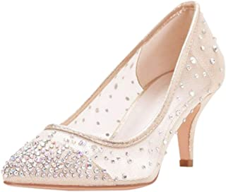 David's Bridal Crystal-Studded Mesh Pointed-Toe Pumps Style HURLEY01
