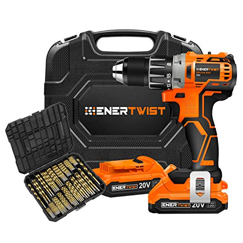 EnerTwist 20V Max Cordless Brushless Drill Driver and Titanium Drill Bit Coated HSS Anti-walking 135° Tip Combo Kit