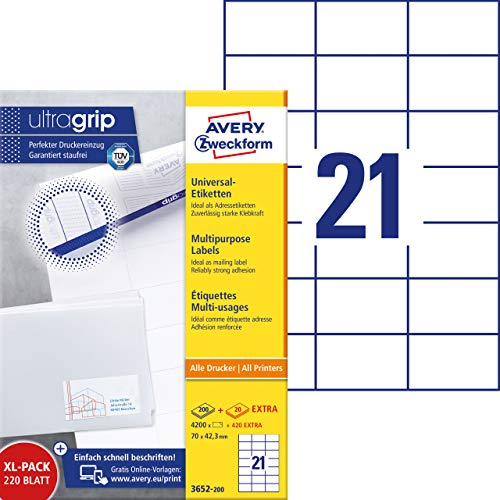 AVERY Zweckform 3652-200 Adressaufkleber (4.200 plus 420 Klebeetiketten extra, 70x42,3mm auf A4, bedruckbare Absenderetiketten, selbstklebende Adressetiketten mit ultragrip) 220 Blatt, weiß