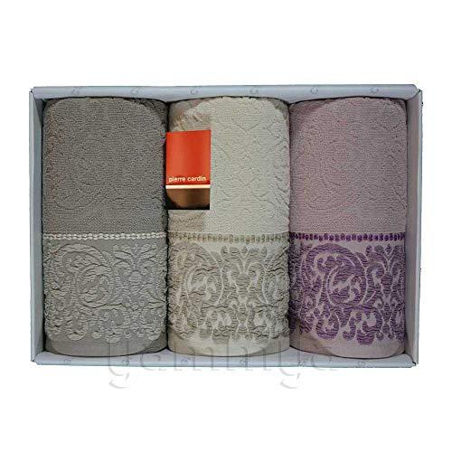 Pierre Cardin - Juego de toallas de baño 3 + 3 (3 caras y 3 invitados) modelo Camila (parto/beige/rosa).