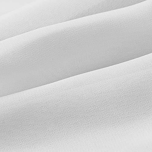VEMOW Vestido Mujer Bohemio Largo Verano Playa Fiesta, Elegante Largos de Fiesta Boda Manga Corta Color Sólido Maxi Vestidos Cóctel Falda Larga Vestido de Noche con Cierre de Cintura(Blanco,XXL)