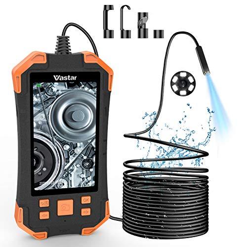 Vastar Cámara Endoscopio de Inspección Industrial, 4.3 Pulgadas IPS Monitor LCD en Color 1080P, 3000 mAh Cámara de Inspección 5.5mm IP67-5M sin Tarjeta de Memoria