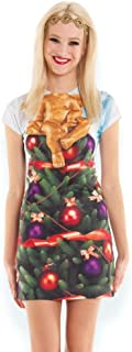 Faux Real Women's 3D Photo-Realistic Short Sleeve Ugly Christmas Sweater T-Shirt Dress